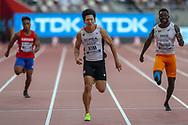 Kukyoung Kim (South Korea), Yendountien Tiebekabe (Togo), Tirioro Kamoriki Willie (Kiribati), 100m Men - Preliminary Round, Heat 2, during the 2019 IAAF World Athletics Championships at Khalifa International Stadium, Doha, Qatar on 27 September 2019.