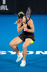 January 10, 2019 - Sydney, NSW, U.S. - SYDNEY, AUSTRALIA - JANUARY 10: Angelique Kerber (GER) hits a backhand at The Sydney International Tennis in the match between Angelique Kerber (GER) and Petra Kvitova (CZE) on January 10, 2018, at Sydney Olympic Park Tennis Centre in Homebush, Australia. (Photo by Speed Media/Icon Sportswire) (Credit Image: © Steven Markham/Icon SMI via ZUMA Press)