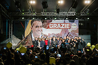 POMIGLIANO D'ARCO, ITALY - 6 MARCH 2018: Luigi Di Maio, leader of the Five Star Movement, who returned to his his hometown to celebrate the movement's victory in the 2018 Italian General Elections, poses for photos with all the elected laymakers of the movement from the Campania region, in front of his supporters and  fellow citizens in Pomigliano D'Arco, Italy, on March 6th 2018.<br /> <br /> The Five-Star Movement, became the first party in Italy, with 33 percent of the vote.
