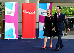 © Licensed to London News Pictures. 02/10/2012. Manchester, UK Ed Miliband, Labour Party leader, arrives with his wife Justine, to make his leaders speech on Day 3 at The Labour Party Conference at Manchester Central today 2nd october 2012. Photo credit : Stephen Simpson/LNP