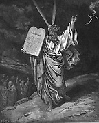 Moses descending from Mount Sinai with the tablets of the law (Ten Commandments). Exodus 5.35. Illustration by Gustave Dore (1832-1883) for 'The Bible' (London 1866). Wood engraving.