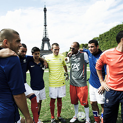 PARIS, FRANCE. AUGUST 23, 2011. The French homeless team at the Homeless World Cup, during training on the Champs de Mars with the Eiffel Tower in the background. Photo: Antoine Doyen
