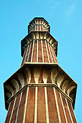 A detail of a minaret at the Jama Masjid (The Friday Mosque), Old Delhi, India.