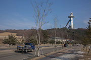 Alpensia Ski Jumping tower from Alpensia Village on the 9th February 2018 in Pyeongchang-gun, South Korea