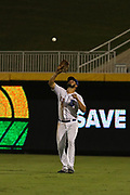 Durham Bulls right fielder Dylan Cozens (23) catches a pop fly during the MiLB International Championship baseball game against the Columbus Clippers, Thursday, September 12, 2019, in Durham, N.C. The Clippers beat the Bulls 6-2 to complete a three-game sweep of the two-time defending champion. (Brian Villanueva/Image of Sport)