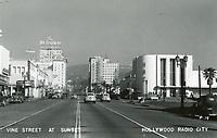 1948 Looking north on Vine St. at Sunset Blvd.