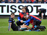 Rugby Union - 2019 / 2020 European Rugby Heineken Champions Cup - Pool Three: Bath vs. Ulster<br /> <br /> Bath Rugby's Rhys Priestland receiving medical attention during the game, at The Recreation Ground.<br /> <br /> COLORSPORT/ASHLEY WESTERN