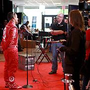 Driver Juan Pablo Montoya speaks with the media during the NASCAR Media Day event at Daytona International Speedway on Thursday, February 14, 2013 in Daytona Beach, Florida.  (AP Photo/Alex Menendez)
