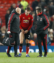 Manchester United's Victor Lindelof receives nmedical attention after the final whistle