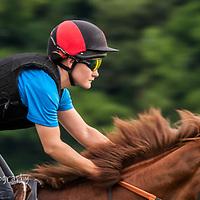 Hollie Mae, work rider for trainer William Jarvis on Warren Hill Gallops, Newmarket, 2017