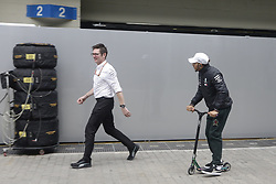November 8, 2018 - Sao Paolo, Brazil - Lewis Hamilton of Mercedes is seen in the pits of the Autodromo of Interlagos. (Credit Image: © Thiago Bernardes/Pacific Press via ZUMA Wire)