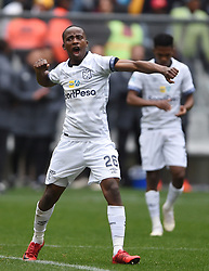 Cape Town-180825- Cape Town City player Thabo Nodada celebrates after winning 1-0 against  Mamelodi Sundowns  in the MTN 8 semi-final at Cape Town Stadum.Photographer :Phando Jikelo/African News Agency/ANA
