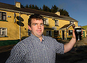 Creedon's pub which claims to be the highest pub in Ireland at the Top of the Coom just inside the Kerry border with Cork which was razed to the ground by fire last night. Picture shows priorietor Tim Creedon at the Top of the Coom pub on the Kerry Cork border in happier times after taking over from his mother Eileen. .Picture by Don MacMonagle