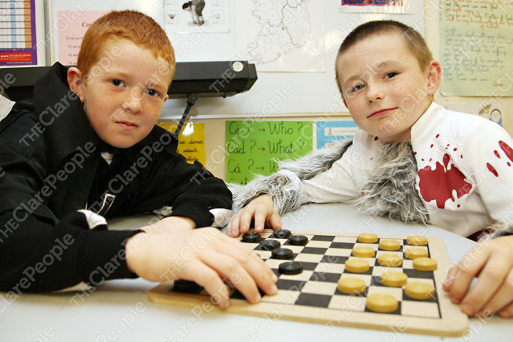 Jason McInerney and Dillon Clancy playing board games as part of the Halloween fun in Mullagh N.S on Friday.<br /><br />Photograph by Yvonne Vaughan.