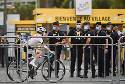 Niamh Fisher-Black (NZL) rolls past the police at the 2020 La Course By Le Tour with FDJ, a 96 km road race in Nice, France on August 29, 2020. Photo by Sean Robinson/velofocus.com