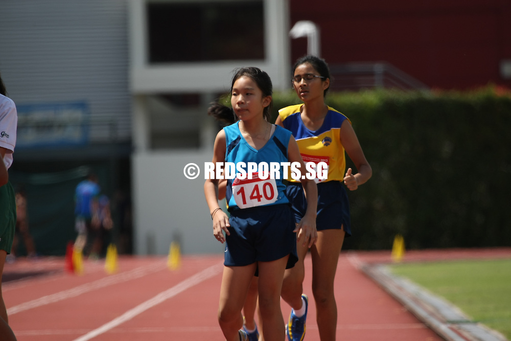 Bishan Stadium, Tuesday, April 30, 2013 — Ruth Kang of Nanyang Primary clocked in at 1 minute 52.70 seconds to win the B girls' 600 metres gold at the 54th National Inter-Primary School Track & Field Championships.<br /> <br /> Story: http://www.redsports.sg/2013/05/06/pri-b-div-600m-girls-ruth-kang-nanyang/