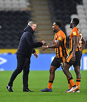 Hull City's Manager Grant McCann congratulates Mallik Wilks on his goal<br /> <br /> Photographer Dave Howarth/CameraSport<br /> <br /> The EFL Sky Bet League One - Hull City v Burton Albion - Saturday 14th November 2020 - KCOM Stadium - Kingston upon Hull<br /> <br /> World Copyright © 2020 CameraSport. All rights reserved. 43 Linden Ave. Countesthorpe. Leicester. England. LE8 5PG - Tel: +44 (0) 116 277 4147 - admin@camerasport.com - www.camerasport.com