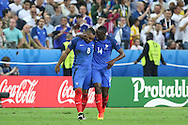 France Midfielder Dimitri Payet and France Midfielder Blaise Matuidi celebrate France Midfielder Dimitri Payet goal during the Group A Euro 2016 match between France and Romania at the Stade de France, Saint-Denis, Paris, France on 10 June 2016. Photo by Phil Duncan.