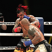 DAYTONA BEACH, FL - SEPTEMBER 11: Hector Lombard punches Kendall Grove during the Bare Knuckle Fighting Championships at the Ocean Center on September 11, 2020 in Daytona Beach, Florida. (Photo by Alex Menendez/Getty Images) *** Local Caption *** Hector Lombard; Kendall Grove