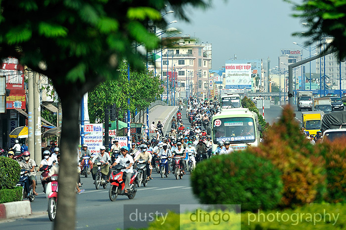Traffic on main highway. Ho Chi Minh City (Saigon), Vietnam