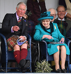 Members of The Royal Family attend The Braemar Royal Highland Gathering, at The Princess Royal and Duke of Fife Memorial Park, Braemar, Aberdeenshire, UK, on the 1st September 2018. 01 Sep 2018 Pictured: Prince Charles, Prince of Wales, Queen, Queen Elizabeth. Photo credit: James Whatling / MEGA TheMegaAgency.com +1 888 505 6342