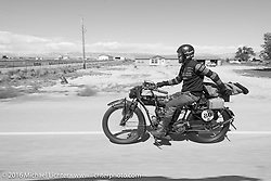 Yoshimasa Niimi riding Shinya Kimura's Team 80 1915 Indian during stage 11 (289 miles) of the Motorcycle Cannonball Cross-Country Endurance Run, which on this day ran from Grand Junction, CO to Springville, UT., USA. Tuesday, September 16, 2014.  Photography ©2014 Michael Lichter.