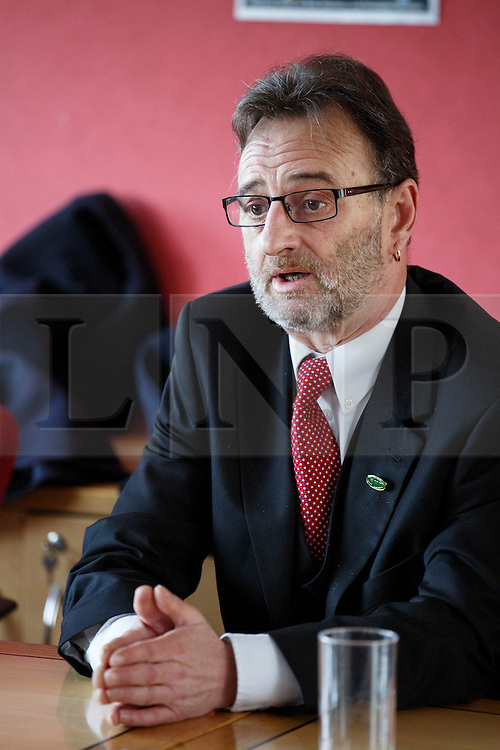 © licensed to London News Pictures. London, UK 03/02/2014. Peter Pinkney, RMT President answering media's questions at TUC HQ in central London ahead of two planned 48-hour London Tube strikes. Photo credit: Tolga Akmen/LNP