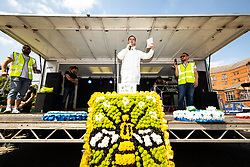 © Licensed to London News Pictures . 19/05/2018. Manchester, UK. The Football Lads Alliance demonstrate in Castlefield Bowl in Manchester , three days before the first anniversary of the Manchester Arena terror attack . Photo credit: Joel Goodman/LNP