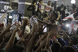 August 8, 2016 - Alexandria, Cairo, Egypt - Fans of Zamalek football club celebrate winning the Egypt Cup after Egypt Cup final match against Al Ahli club in Borg El-Arab Stadium near Alexandria, Egypt, Aug 8,2016  (Credit Image: © Stringer/APA Images via ZUMA Wire)