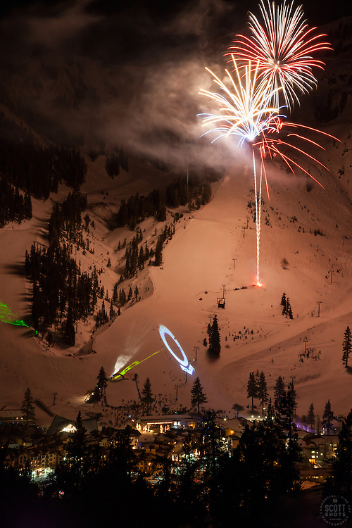 """""""Fireworks at Squaw Valley 4"""" - Photograph of the fireworks show at Squaw Valley Ski Resort during the 2013 North Tahoe SnowFest."""