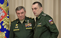 November 20, 2018 - Sochi, Russia - November 20, 2018. - Russia, Sochi. - Russia's First Deputy Defence Minister, Chief of the General Staff of the Russian Armed Forces, Valery Gerasimov (left), and Russia's Deputy Defence Minister Aleksey Krivoruchko attend a meeting of Russian President Vladimir Putin with Russian Defence Ministry top officials and defence industry representatives at the Bocharov Ruchei residence. (Credit Image: © Russian Look via ZUMA Wire)