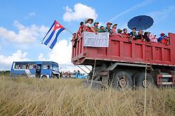 November 30, 2016 - Cuba - Cubans wait for the passage of Fidel Castro's ashes outside of Santa Clara, Cuba on Thursday, December 1, 2016. (Credit Image: © Al Diaz/TNS via ZUMA Wire)
