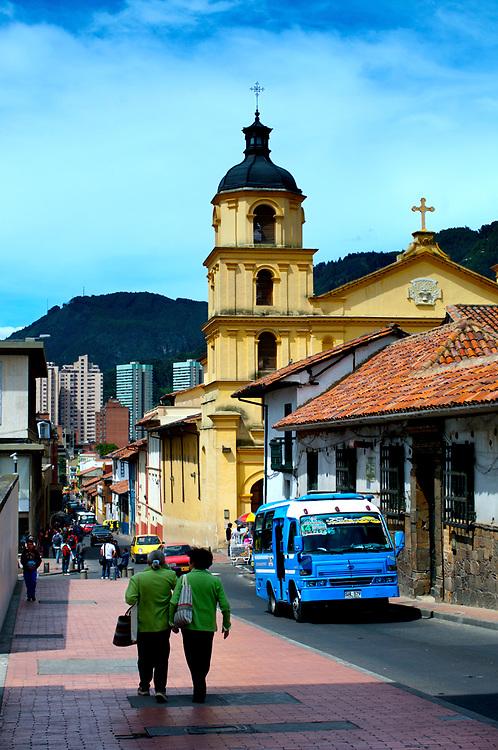 Bell tower of the Iglesia de La Candeleria towers over the historic neighborhood of La Candeleria in Bogota, Colombia.