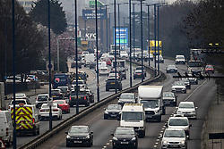 © Licensed to London News Pictures. 08/03/2021. London, UK. Heavy traffic on the A40 at Perivale in west London at rush hour, just before 9.00am. From today (Monday) some lockdown rules are being relaxed, including children returning to school. Photo credit: Ben Cawthra/LNP