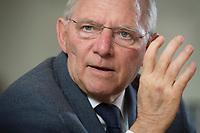 23 FEB 2016, BERLIN/GERMANY:<br /> Wolfgang Schaeuble, CDU, Bundesfinanzminister, waehrend einem Interview, in seinem Buero, Bundesministerium der Finanzen<br /> IMAGE: 20160223-01-025<br /> KEYWORDS: Wolfgang Schäuble