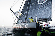 """The Vendee Globe 2016 - 2017<br /> British yachtsman Alex Thomson skipper of the 'Hugo Boss""""  IMOCA Open60. He finished 2nd in the Vendee Globe solo non stop around the world yacht race. Shown here in the Sables d Olonne port celebrating. He completed the solo non stop around the world race in 74days. 19hours and 35 minutes<br /> <br /> Photo by Lloyd Images"""