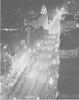 1933 Aerial of Santa Claus Lane Parade on Hollywood Blvd.