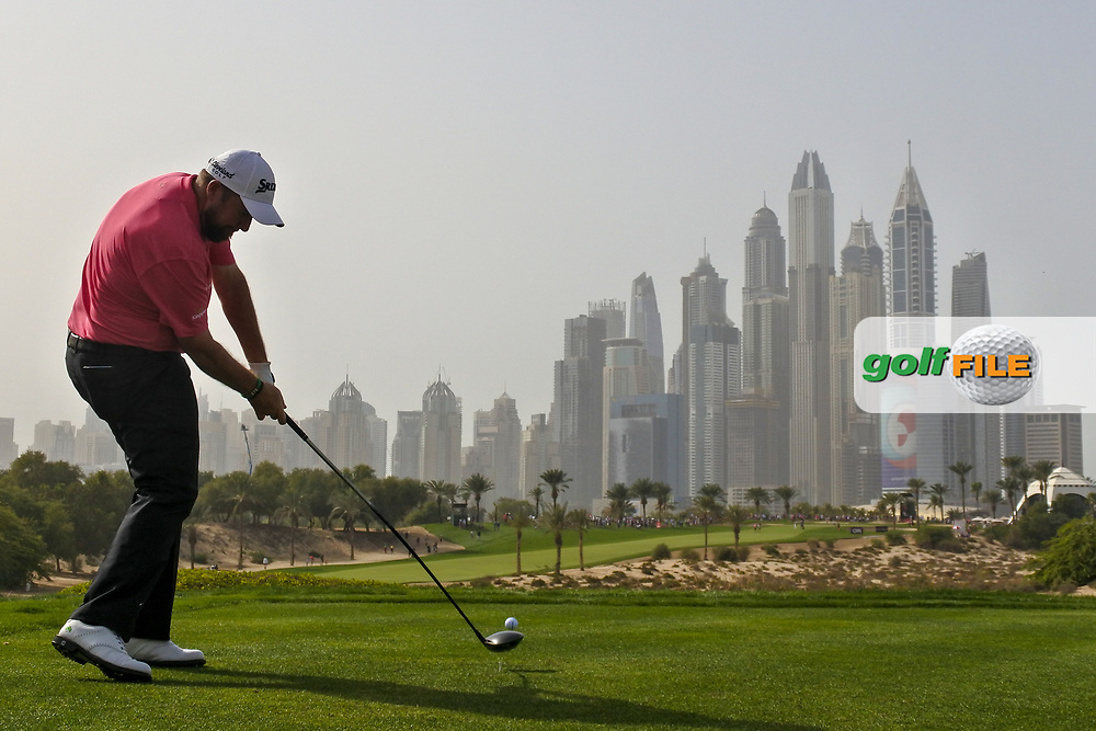 Shane Lowry (IRL) on the 8th during Round 2 of the Omega Dubai Desert Classic, Emirates Golf Club, Dubai,  United Arab Emirates. 25/01/2019<br /> Picture: Golffile | Thos Caffrey<br /> <br /> <br /> All photo usage must carry mandatory copyright credit (© Golffile | Thos Caffrey)