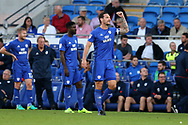 Sean Morrison, the captain of Cardiff City ©  looks on. EFL Skybet championship match, Cardiff city v Sheffield Utd at the Cardiff City Stadium in Cardiff, South Wales on Tuesday 15th August 2017.<br /> pic by Andrew Orchard, Andrew Orchard sports photography.