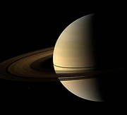 The Cassini spacecraft captured this natural color view of Saturn almost a month after the planet's August 2009 equinox. The shadow cast on the planet by the rings remains narrow.