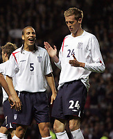 Photo: Paul Thomas.<br /> England v Hungary. International Friendly. 30/05/2006.<br /> <br /> Peter Crouch (R) of England celebrates his goal with Rio Ferdinand.