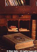 Aged Books, Desk, Landis Valley Farm Museum, Lancaster Co., PA