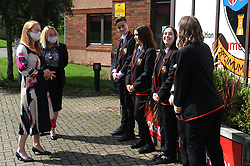Lochgelly High School Exam results<br /> <br /> Shirley-Anne Somerville chats with some of the Lochgelly High students with Head teacher Debbie Aitkin<br /> <br /> (c) David Wardle | Edinburgh Elite media