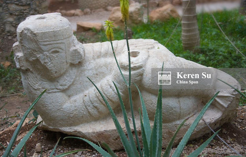 Stone statue at Dzibilchaltun, Mayan ruins near Merida, Yucatan State, Mexico