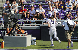 September 16, 2017 - Fort Worth, TX, USA - Leaving the field for the lockeroom, Texas Christian defensive end Mat Boesen (9) is ejected from the game after his late hit on Southern Methodist quarterback Ben Hicks at Amon Carter Stadium in Fort Worth, Texas, on Saturday, Sept. 16, 2017. TCU won, 56-36. (Credit Image: © Paul Moseley/TNS via ZUMA Wire)