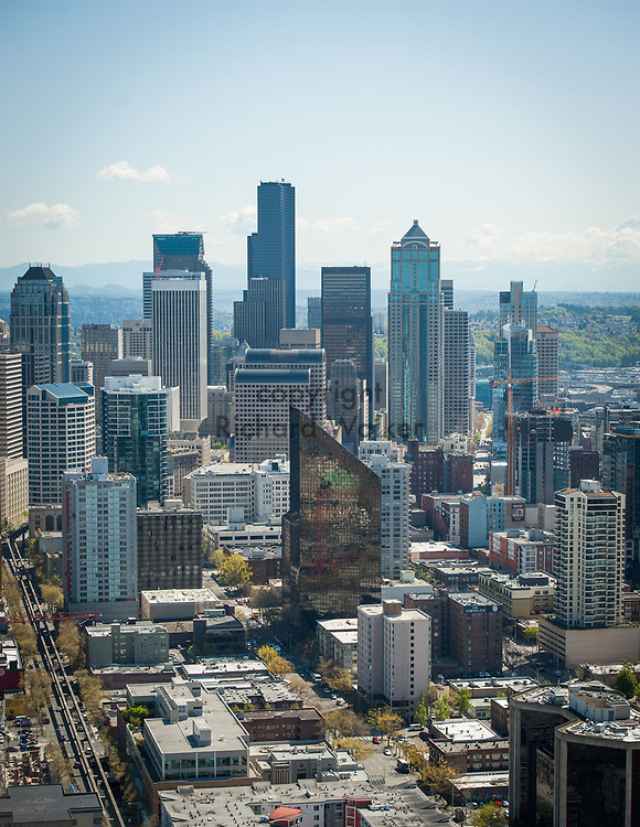 2013 April 22 - Downtown Seattle as seen from the top of the Space Needle, Seattle, WA. By Richard Walker
