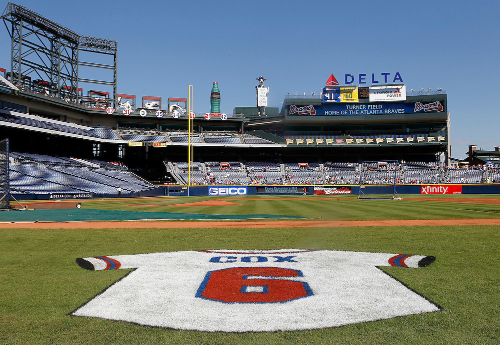 ATLANTA - OCTOBER 3:  Manager Bobby Cox's jersey is painted into the field as a tribute at the game between the Atlanta Braves and the Philadelphia Phillies at Turner Field on October 3, 2010 in Atlanta, Georgia.  (Photo by Mike Zarrilli/Getty Images)