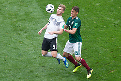 June 17, 2018 - Moscow, Russia - Timo Werner of Germany and Hector Moreno of Mexico during the Russia 2018 World Cup Group F football match between Germany and Mexico at the Luzhniki Stadium in Moscow on June 17, 2018. (Credit Image: © Foto Olimpik/NurPhoto via ZUMA Press)