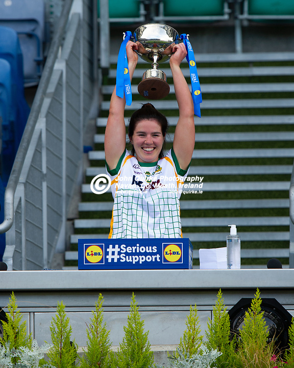 26-06-21. Meath v Kerry - Lidl Ladies National Football League Division 2 Final at Croke Park.<br /> Meath team captain Shauna Ennis raising the LGFA Div. 2 NFL Cup.<br /> Photo: John Quirke / www.quirke.ie<br /> ©John Quirke Photography, 16 Proudstown Road, Navan. Co. Meath. (info@quirke.ie / 046-9028461 / 087-2579454).