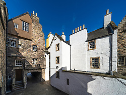View of Bakehouse Close on Royal Mile in Edinburgh, Scotland UK. Location of Outlander as fictional Carfax Close. Scotland ,UK
